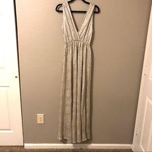 Lulu's Gold Floor Length Formal Event Dress